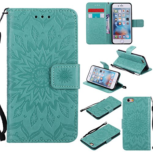For iPhone 6 / 6S Wallet Case [NOT FOR iphone 6 plus], Sun Pattern Embossed PU Leather Magnetic Flip Cover Card Holders & Hand Strap Wallet Purse Case for iPhone 6 / 6S [4.7 Inch] - Green