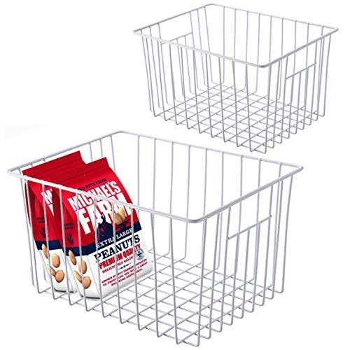 GCAT Freezer Wire Basket Storage Bins, Metal Wire Basket Organizer Bins with Handles for Kitchen, Pantry, Refrigerator, Cabinet, Shelf, Countertop and Laundry Room - 2 Pack