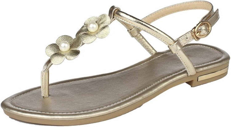 AmoonyFashion Women's Open-Toe Buckle Pu Solid Low-Heels Sandals, BUTLS007370