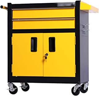 Tool Trolley, Multi-Function Auto Repair Tool Car Repair Tool Cabinet Mobile Toolbox Trolley Size 62 * 33.5 * 75CM (Color : Yellow, Size : 62 * 33.5 * 75CM)
