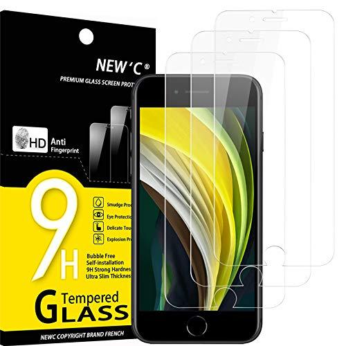 NEW'C 3 Pezzi, Vetro Temperato per iPhone SE 2020, Pellicola Prottetiva Anti Graffio, Anti-Impronte, Senza Bolle, Durezza 9H, 0,33mm Ultra Trasparente, Ultra Resistente