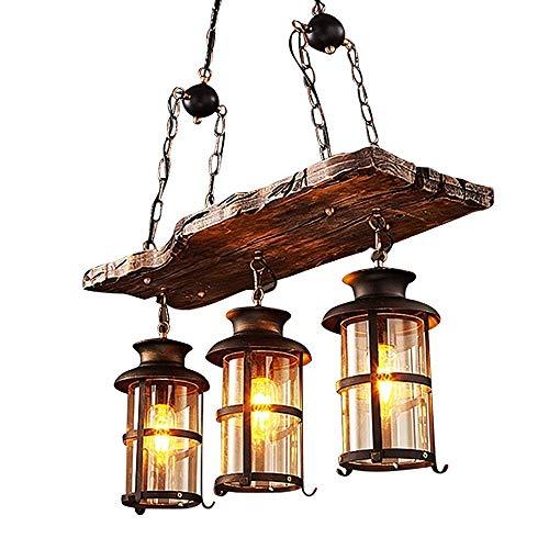 Lampe à Suspension Vintage, Lustre Industriel Bois Bar Lampe 3 * E27 Hauteur ajustable Vintage Pendentif Lumière Industrielle Style En Bois Massif Éclairage Restaurant Lustre (26,7 * 39,4 pouces)
