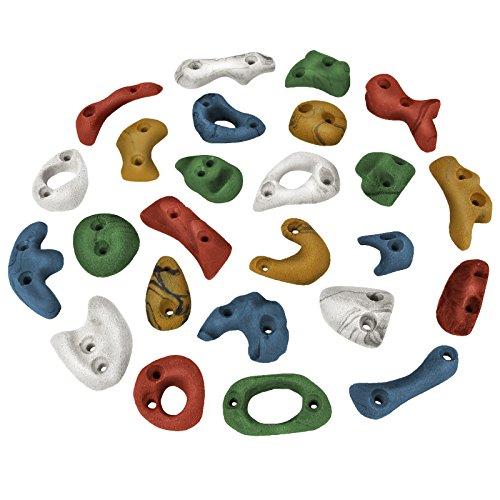 ALPIDEX 25 Klettergriffe Klettersteine - Verschiedene Grifftypen, ideales Starterset, Farbe:bunt