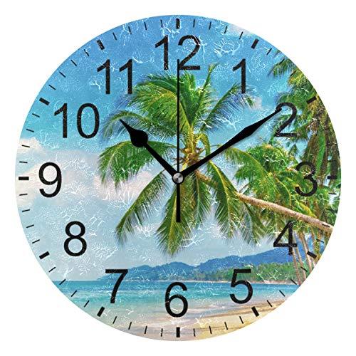 SENNSEE Wanduhr mit Palmen und blauem Himmel, für Wohnzimmer, Schlafzimmer, Küche, batteriebetrieben, rund