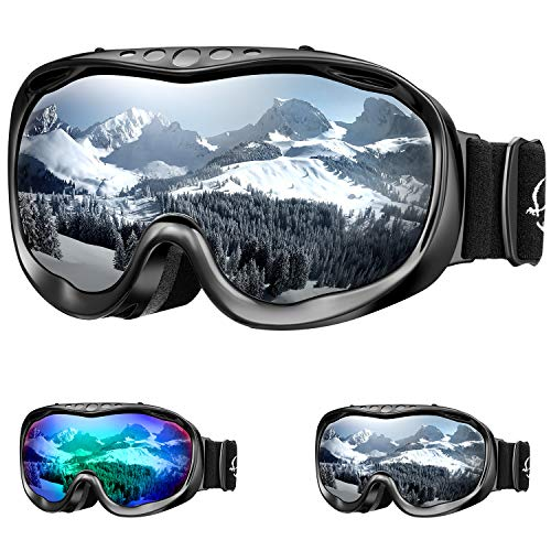 ENKEEO Gafas de Esquí Lente Doble Anti-Vaho 100% UV400 Protección Ski Goggles Snowboard para Esquiar Snowboard Deportes de Invierno, Color Gris