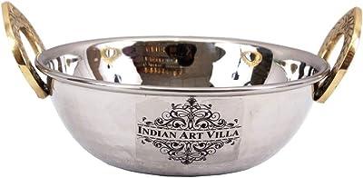 "Indian Art Villa 2.3"" X 6.0"" Handmade Steel Kadhai Karahi Wok with Brass Handle 500 ML - Serving Indian Food Dal Curry Vegetable Home Hotel Restaurant Tableware"