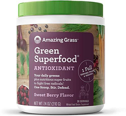 Amazing Grass Green Superfood: natürliche Mix aus Kräutern, Gemüse und Früchten mit Kulteren, Reich an Ballaststoffen, Vitaminen und Mineralstoffen, Vegan, ohne Zuckerzusatz - Antioxidant süße Beere