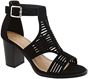 Gayle New Black Caged Faux Leather Strappy Wide Width Open Toe Fun Cool Breathable Bohemia Sandalias Altas Mommie and Me Matching Shoe Dance Sandal for Teen Girl Women (Size 5.5, BlackHeel) from