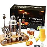 AYAOQIANG Shaker à Cocktail,Shaker Cocktail Professionnel 12 Pièces,Cocktail Shaker 750ml Kit Barman avec Support en Bois