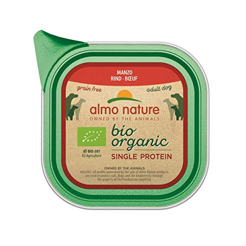 almo nature Organic Wet Dog Food con Manzo Singolo Protein- Grain Free (Confezione da 11x 150g vassoi)