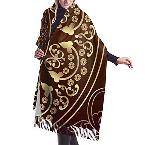 JONINOT Vintage Cosmos Swirled Floral Cashmere Schal für Frauen Männer Leichte Unisex Spring Soft Winter Schals Fransen Schal Wrap