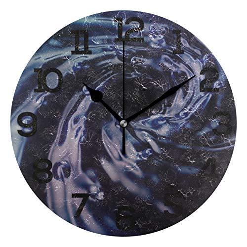 Aminka 3D-Wanduhr, blaues Wasser-Hintergrundbild, rund, kein Ticken, geräuschlose Acryl-Uhren für Wohnzimmer, Schlafzimmer, Küche, Schule, Büro