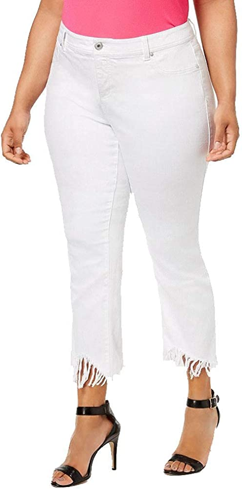 I.N.C. International Concepts Women's Plus Size Fringed Cropped Jeans