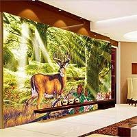 Clhhsy 森の森鹿夢テレビ背景壁カスタム大きな壁画壁紙-280X200Cm