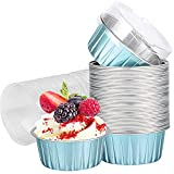 Cupcake Cups with Lids, 25 pcs 5 oz Blue Aluminum Foil Dessert Baking Cups Holders, Cupcake Bake Utility Ramekin Clear Pudding Cups for Wedding,Christmas,Kitchen,Birthday Party,Various Holiday Parties