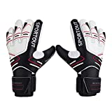 Youth&Adult Goalie Goalkeeper Gloves,Strong Grip for The Toughest Saves, with Finger Spines to Give Splendid Protection to Prevent Injuries,3 Colors (Black, 7)