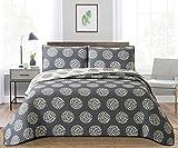 Angel Bedding 3-Piece Washed Quilt Bedspread Coverlet Set (Dark Blue, King(104X90''))