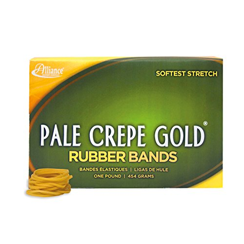 """Alliance Rubber 20125 Pale Crepe Gold Rubber Bands Size #12, 1 lb Box Contains Approx. 3850 Bands (1 3/4"""" x 1/16"""", Golden Crepe)"""