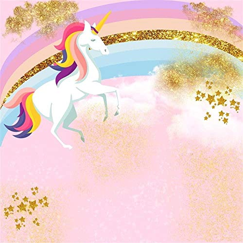 Telón de Fondo de fotografía de Unicornio Rosa de Estrellas Doradas Unicornio Blanco Arco Iris Lindo Fondo Colorido Niño Adultos Retratos Telón de fondo-5x5FT