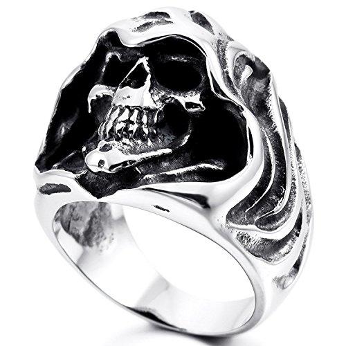 mendino Anello da uomo in acciaio inox Sensenmann Gothic Band nero argento lucido con 1 X sacchetto di velluto e Acciaio inossidabile, 28, cod. JRG0117SI-8