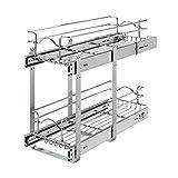 Rev-A-Shelf 5WB2-0922CR-1 9 x 22 Inch 2-Tier Wire Basket Pull Out Shelf Storage for Kitchen Base Cabinet Organization, Chrome
