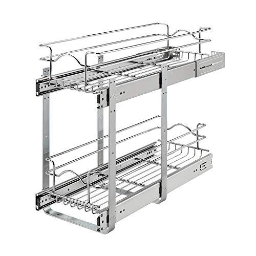 Rev-A-Shelf 5WB2-0922CR-1 9 x 22 Inch 2-Tier Wire Basket Pull Out Shelf Storage for Kitchen Base Cabinet Organization Chrome