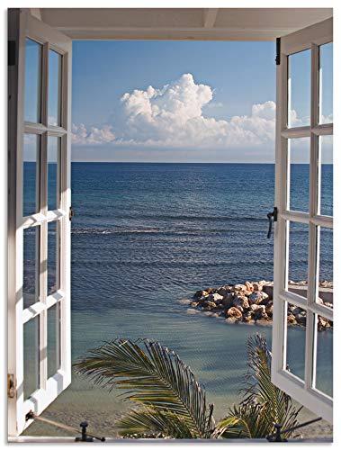 Artland Wandbild Alu für Innen & Outdoor Metall Bild 60x80 cm Fensterblick Fenster zum Paradies Strand Meer Maritim Palmen Landschaft T9II