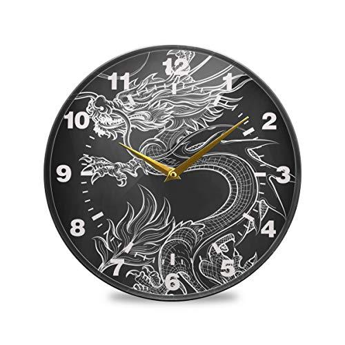 ISAOA 24,1 cm nicht-tickende Wanduhr, batteriebetrieben, chinesische Kultur Drache Skizze Wanddekoration für Schlafzimmer, Esszimmer, Wohnzimmer, Schule, Büro, acryl, multi, 9.5x9.5in