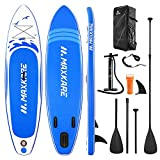 MaxKare Stand Up Paddle Board Gonflable Sup Planche Gonflable 305 x 76 x 15 cm Sup Gonflable PVC Ultra Robuste Sup Paddle Pagayer Pompe à Double Action Sac à Dos Leash, Aileron