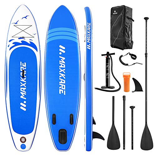 "MaxKare Stand Up Paddle Board Inflatable SUP W Stand-up Paddle Board Accessories Backpack Paddle Leash Pump Non-Slip Deck ISUP Fishing Yoga Rigid Solid 10'× 30"" ×6'' Inches Thick Adult & Youth & Kid"