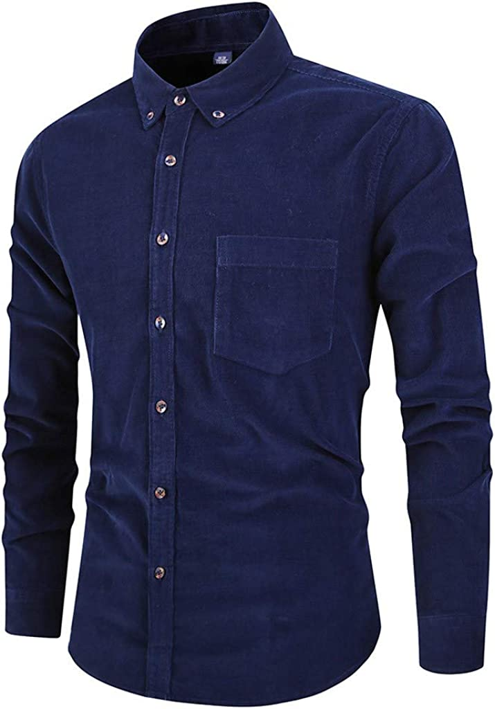 MODOQO Men's Button Down Shirts Long Sleeve Casual Business Solid Blouse Turn-Down Collar Tops