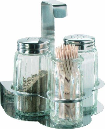 Menagen - Set 4 tlg. mit Edelstahltischgestell, Pfefferstreuer, Salzstreuer und Zahnstocherglas