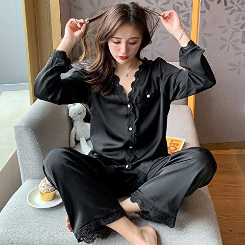 WSKWEIJ Conjunto De Pijama,Back Ik Ike Woen Pajaa Et Autun Ong Eeve Eepwear Paace Tye Nightwear Et Back Beautifu Hoe Nightgown Uit,