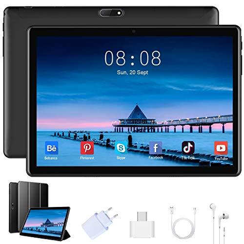4G LTE Tablet 10 Pulgadas Android 9.0, 3 GB RAM +32 GB ROM / 128GB Expandido, Quad Core, 8000mAh Batería, Dual SIM, 8MP + 5MP, OTG, WiFi, Bluetooth, GPS Tablet PC