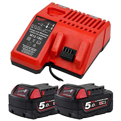 Milwaukee 18V Energy Pack 2 x M18B5 5.0Ah Battery & M12-18C Charger
