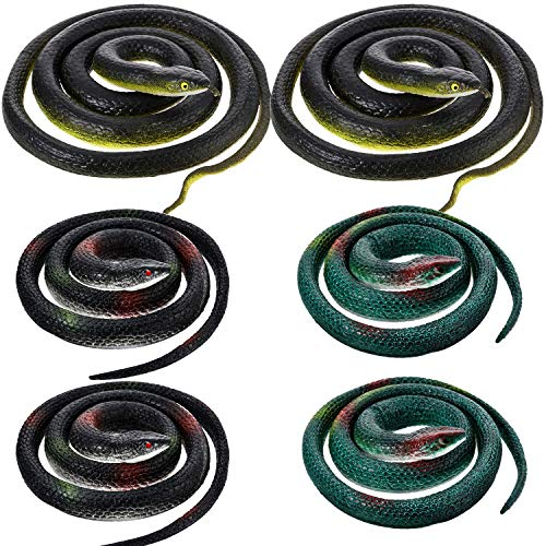 6 Pieces Large Rubber Snakes in 2 Sizes 47 Inches and 29 Inches, Fake Snake Black Mamba Snake Toys for Garden Props to Scare Birds, Pranks, Halloween Decoration (6 Pieces)
