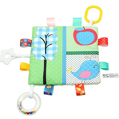 YeahiBaby Animal Teething Blanket Toys - BPA Free, Cute Baby Rattle Teething Toys, Car Seat Stroller Toys, Newborn Baby Crinkle Toys (Bird and Tree)