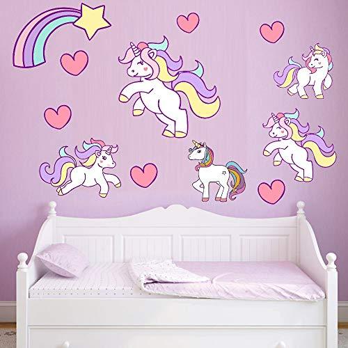 Eenhoorns Star Heart Muurstickers Cartoon Leuke Vliegen Paarden DIY Vinyl Thuis Muurstickers Kids Woonkamer Slaapkamer Meisjes Room Decor