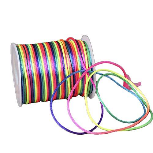 inherited Schnur Regenbogen (1,5mm; 100m) Perlenschnur DIY Handwerk Basteln Schnur Beading Cord String Faden zum Auffädeln Kinder Gummiband für Armbänder Haarband
