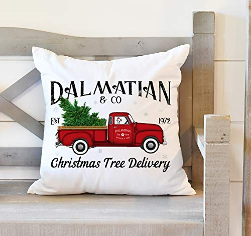 Christmas Throw Pillow Cover 20 x 20 Inches, Dalmatian Christmas Tree, Dalmatian Dog Gift, Red Truck Decor, Christmas Decor, Dalmatian Dog Gift