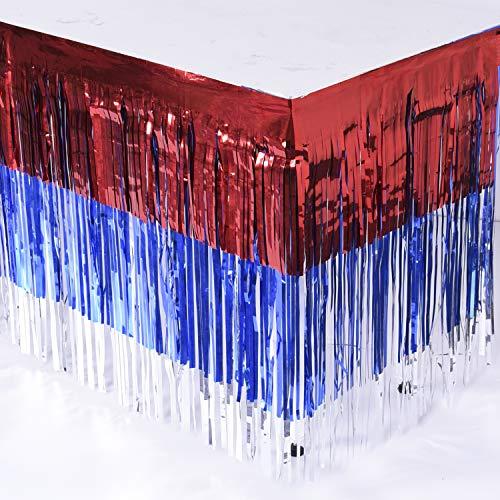 Leegleri Plastic Metallic Foil Fringe Table Skirt Tinsel Mardi Gras Table Skirt Banner for Party (Red+Blue+Silver B, 2 Pack)