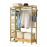 perchero HAIYU Madera, Gran Capacidad para Dormitorio con 5 Estantes, Organizador de Ropa Multifuncional, Cajones, 123 x 30 x 146 cm