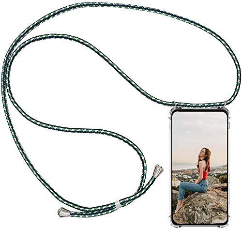 AKC Coque Compatible avec iPhone XR Lanyard Housse Collier Transparent Cordon Tour de Cou Case Réglable Telephone Portable Cover Necklace Dragonne pour iPhone XR-Vert