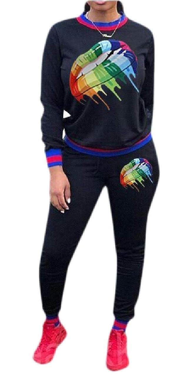 アート虹塊Women's 2 Pieces Outfit Long Sleeve Sweatshirt Pants Running Sweatsuit Tracksuit