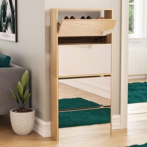 Vida Designs Welham 4 Drawer Mirrored Shoe Cabinet, Hallway Cupboard Storage Organiser, Footwear Stand Rack, Wood Sideboard Unit, Oak