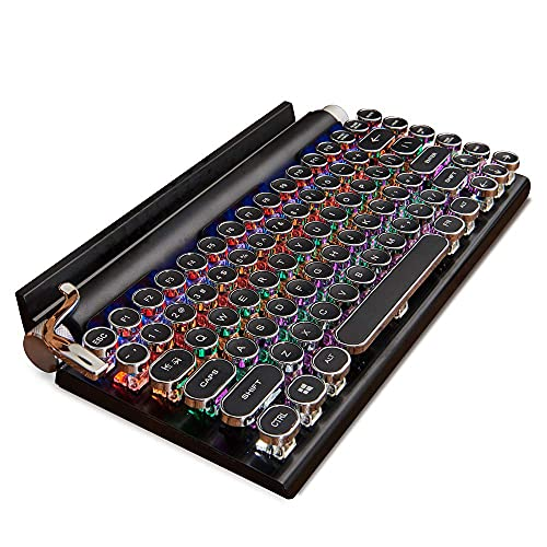 Teclado retro para máquina de escribir, 7KEYS Máquina de escribir eléctrica vintage con Bluetooth 5.0 mecánico mejorado, conexión de varios dispositivos, madera clásica, teclas redondas punk para ordenador de sobremesa, portátil, Mac/teléfono