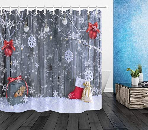 LB Duschvorhang mit weihnachtlichen Ornamenten, Schneeflocken, zum Aufhängen an Ast mit Weihnachtsdekorationen, Kugeln, Geschenke auf grauem Karton, 152,4 x 183,9 cm, wasserdichter Stoff mit 10 Haken
