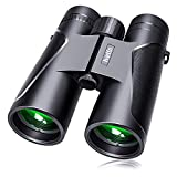 Binoculars for Adults and Kids, 12x42 Compact Binoculars with Low Light Night Vision, Large Eyepiece Waterproof Binocular for Bird Watching, Theater and Concerts, Hunting and Sport Games