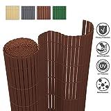 wolketon Sichtschutzmatte PVC Sichtschutzzaun Sichtschutz Windschutz UV-beständig Wetterfest / 140x400cm Braun/PVC Zaun für Garten Balkon Terrasse