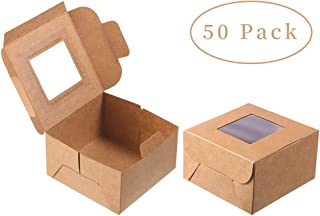 Hasken 50 Pack Brown Bakery Boxes with Window 4x4x2.5 inches Cookie Boxes with Window Pastry Boxes for Gift Giving